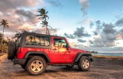 Kauai Jeep rental on the beach
