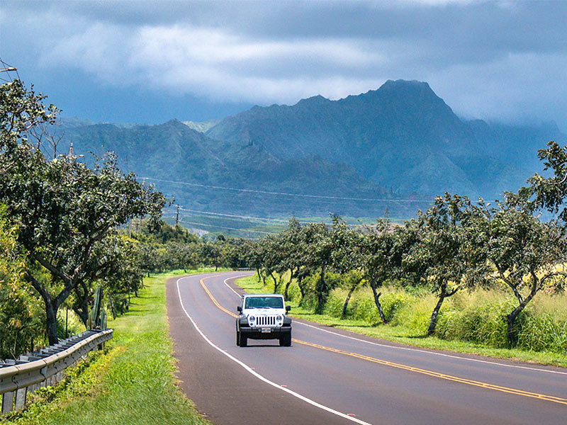 Jeep renter driving the roads of Kauai