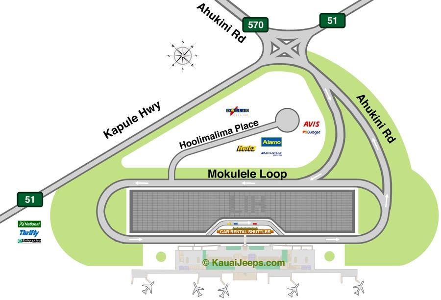 Lihue Airport Rental Car Map